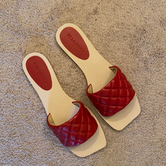 NWT Red Leather Quilted Sandals